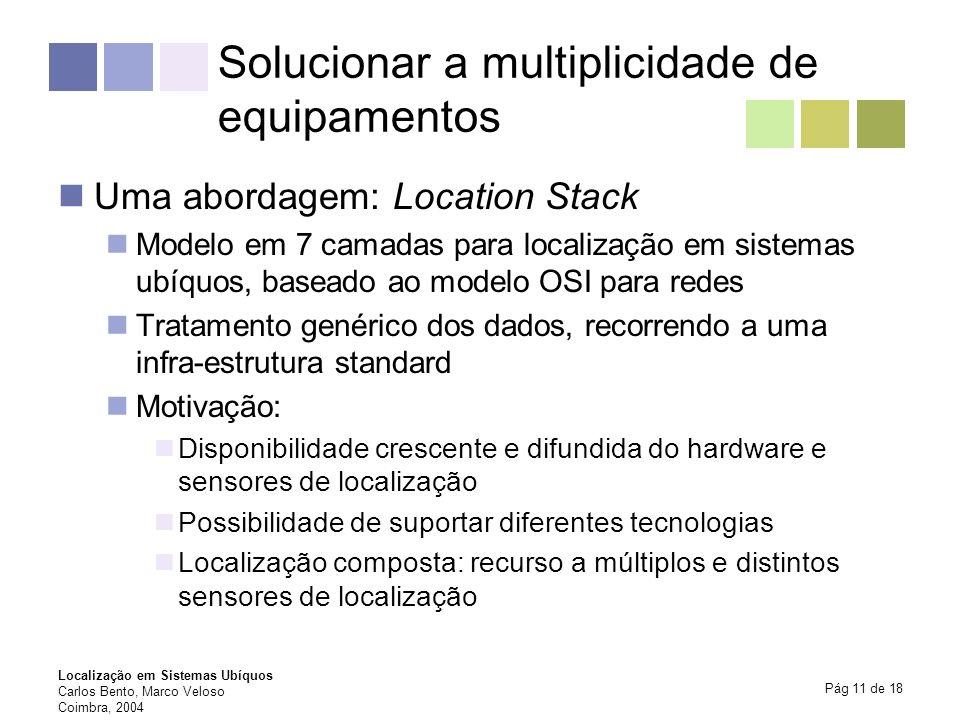 Localização em Sistemas Ubíquos Carlos Bento, Marco Veloso Coimbra, 2004 Pág 11 de 18 Solucionar a multiplicidade de equipamentos Uma abordagem: Locat