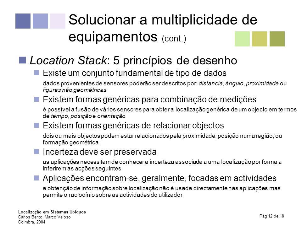 Localização em Sistemas Ubíquos Carlos Bento, Marco Veloso Coimbra, 2004 Pág 12 de 18 Solucionar a multiplicidade de equipamentos (cont.) Location Sta
