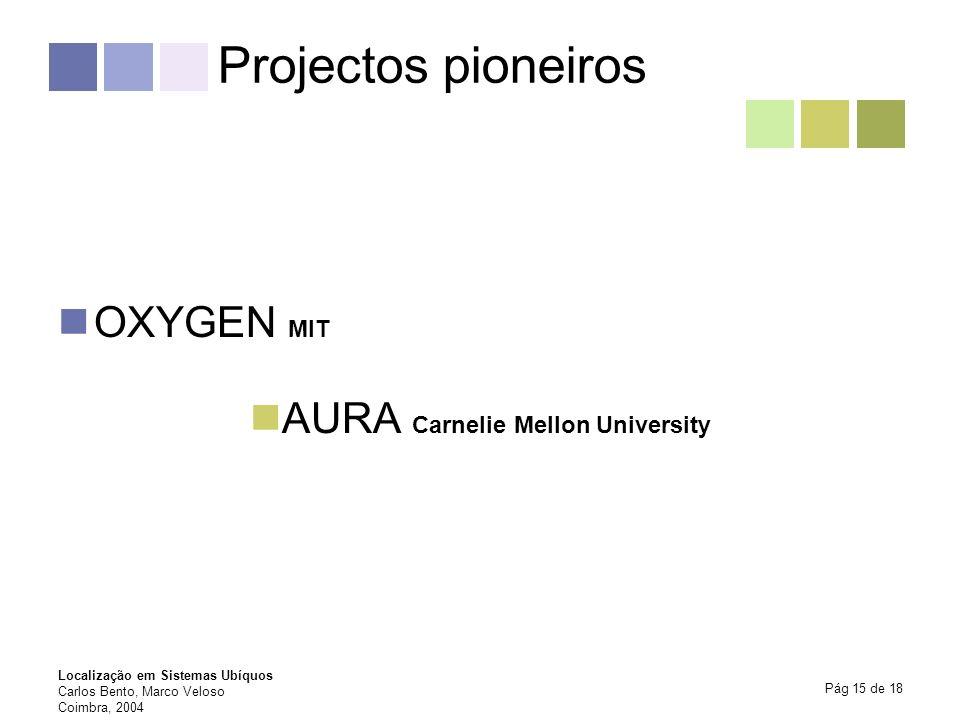 Localização em Sistemas Ubíquos Carlos Bento, Marco Veloso Coimbra, 2004 Pág 15 de 18 Projectos pioneiros OXYGEN MIT AURA Carnelie Mellon University