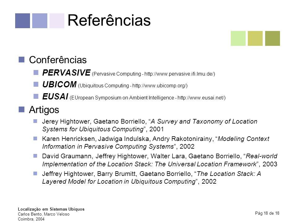 Localização em Sistemas Ubíquos Carlos Bento, Marco Veloso Coimbra, 2004 Pág 18 de 18 Referências Conferências PERVASIVE (Pervasive Computing - http:/