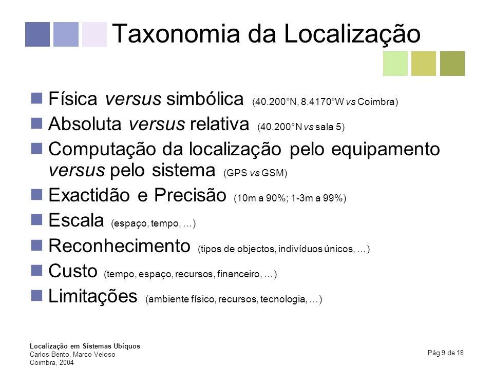 Localização em Sistemas Ubíquos Carlos Bento, Marco Veloso Coimbra, 2004 Pág 9 de 18 Taxonomia da Localização Física versus simbólica (40.200°N, 8.417