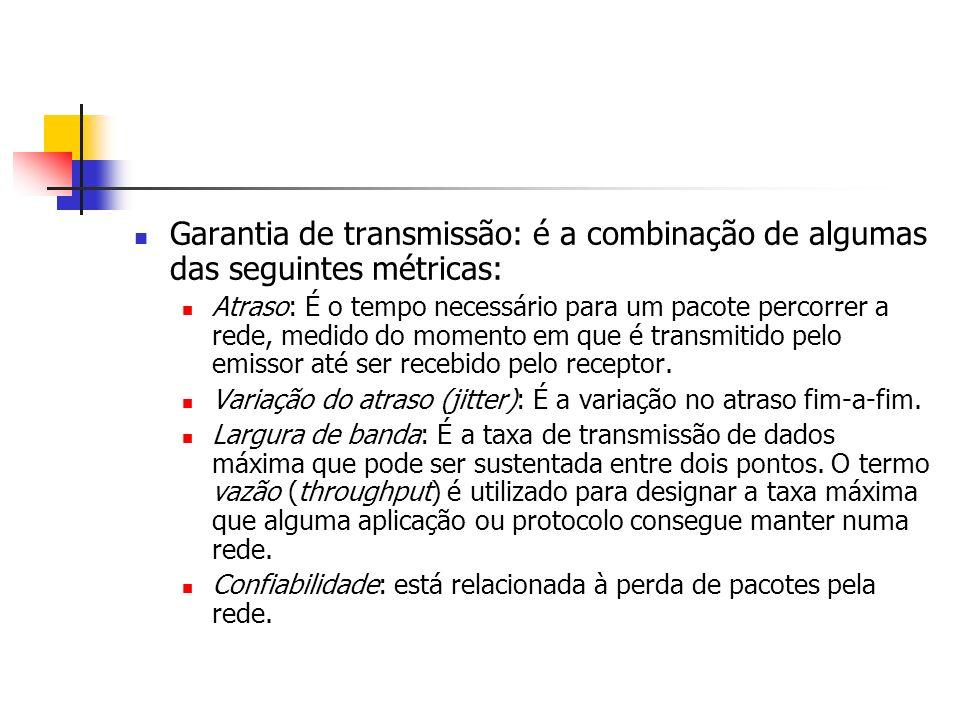 Garantia de transmissão: é a combinação de algumas das seguintes métricas: Atraso: É o tempo necessário para um pacote percorrer a rede, medido do mom