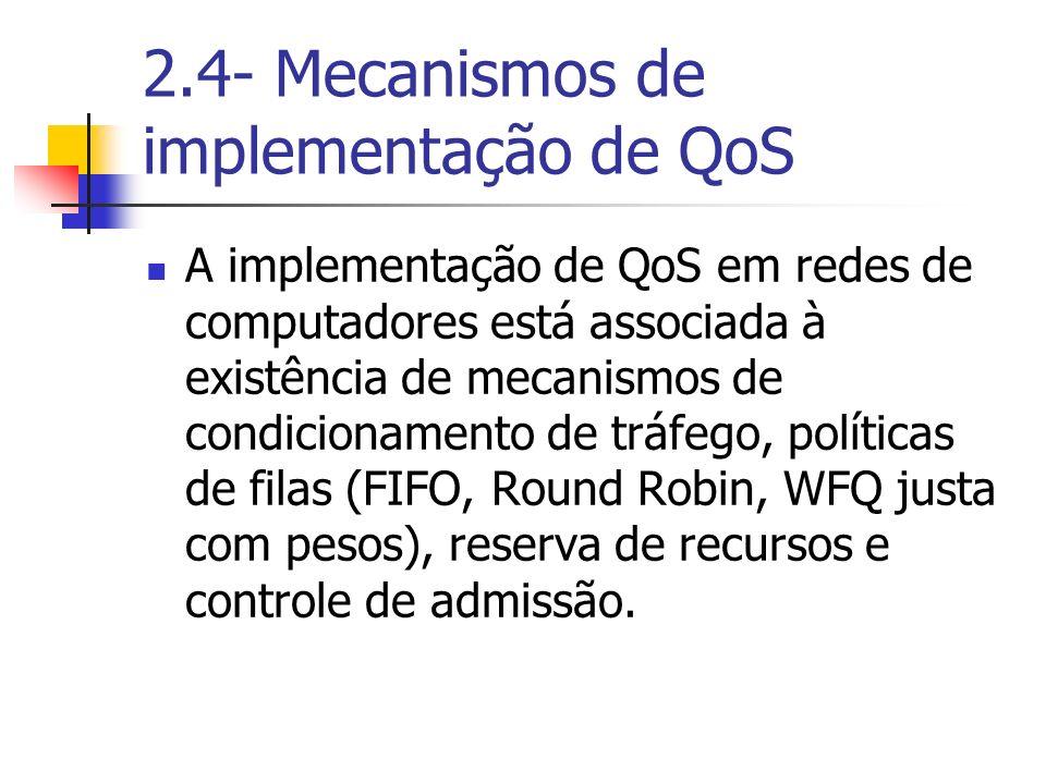 2.4- Mecanismos de implementação de QoS A implementação de QoS em redes de computadores está associada à existência de mecanismos de condicionamento d