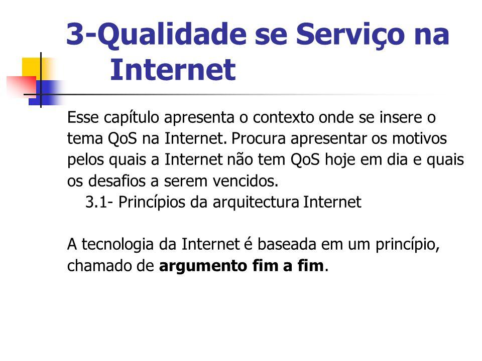 3-Qualidade se Serviço na Internet Esse capítulo apresenta o contexto onde se insere o tema QoS na Internet. Procura apresentar os motivos pelos quais
