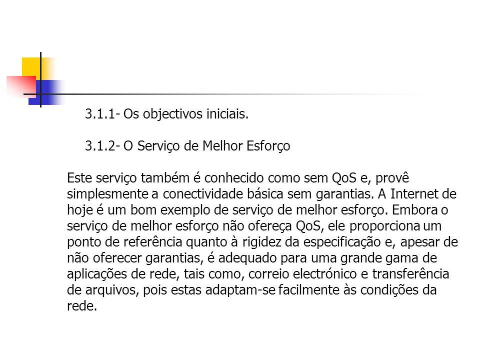 3.1.1- Os objectivos iniciais. 3.1.2- O Serviço de Melhor Esforço Este serviço também é conhecido como sem QoS e, provê simplesmente a conectividade b
