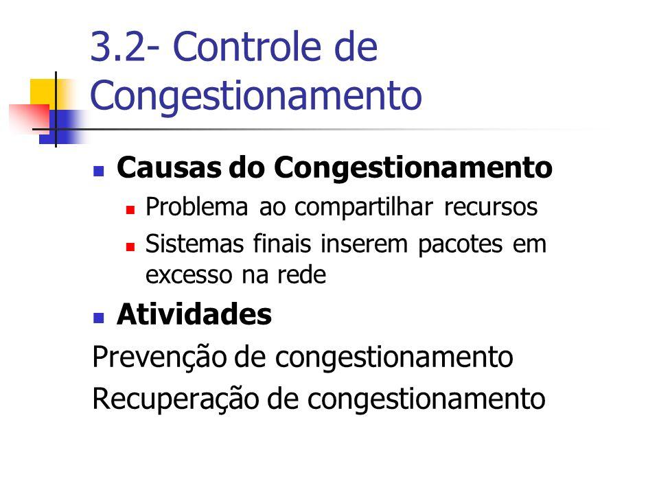 3.2- Controle de Congestionamento Causas do Congestionamento Problema ao compartilhar recursos Sistemas finais inserem pacotes em excesso na rede Ativ