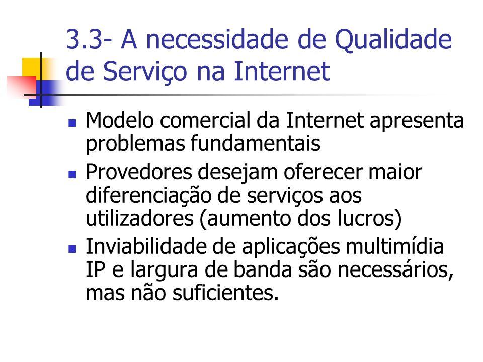 3.3- A necessidade de Qualidade de Serviço na Internet Modelo comercial da Internet apresenta problemas fundamentais Provedores desejam oferecer maior