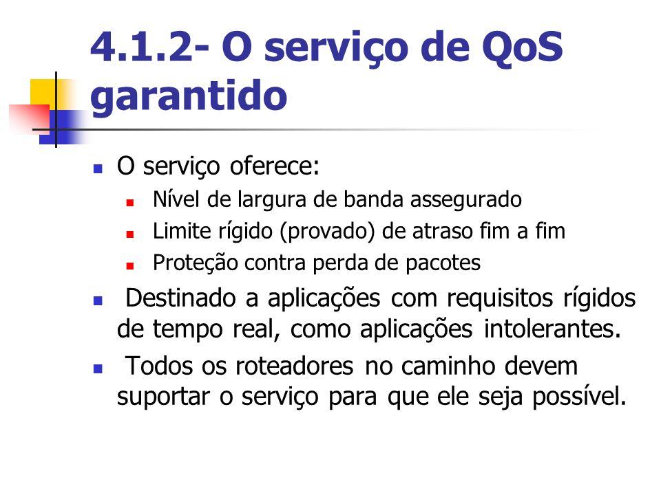 4.1.2- O serviço de QoS garantido O serviço oferece: Nível de largura de banda assegurado Limite rígido (provado) de atraso fim a fim Proteção contra
