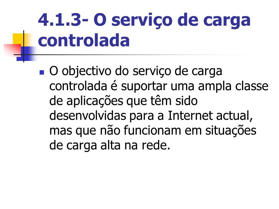 4.1.3- O serviço de carga controlada O objectivo do serviço de carga controlada é suportar uma ampla classe de aplicações que têm sido desenvolvidas p