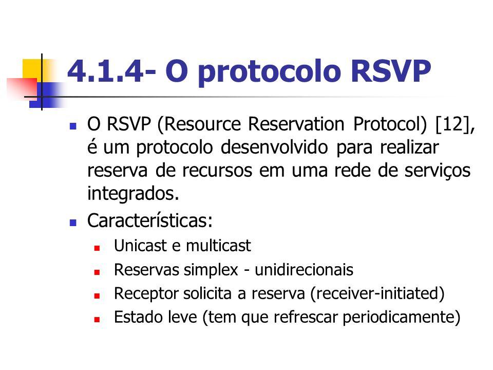 4.1.4- O protocolo RSVP O RSVP (Resource Reservation Protocol) [12], é um protocolo desenvolvido para realizar reserva de recursos em uma rede de serv