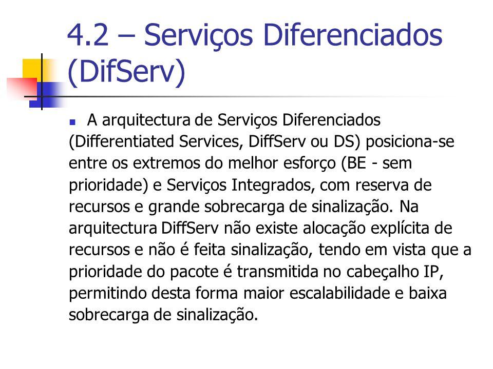 4.2 – Serviços Diferenciados (DifServ) A arquitectura de Serviços Diferenciados (Differentiated Services, DiffServ ou DS) posiciona-se entre os extrem
