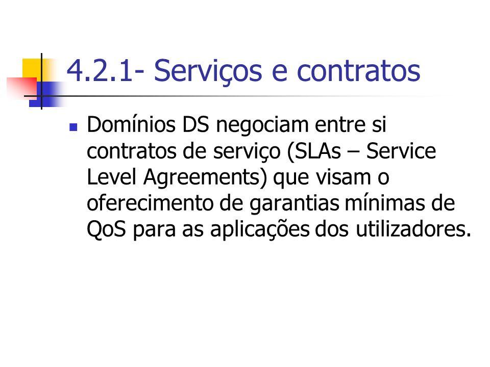 4.2.1- Serviços e contratos Domínios DS negociam entre si contratos de serviço (SLAs – Service Level Agreements) que visam o oferecimento de garantias