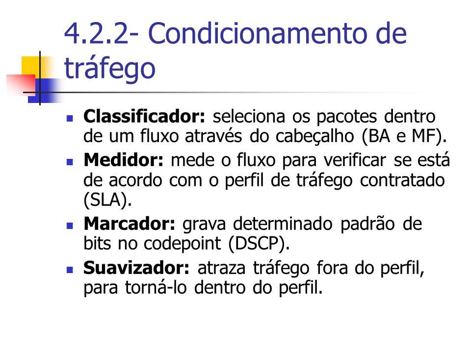 4.2.2- Condicionamento de tráfego Classificador: seleciona os pacotes dentro de um fluxo através do cabeçalho (BA e MF). Medidor: mede o fluxo para ve