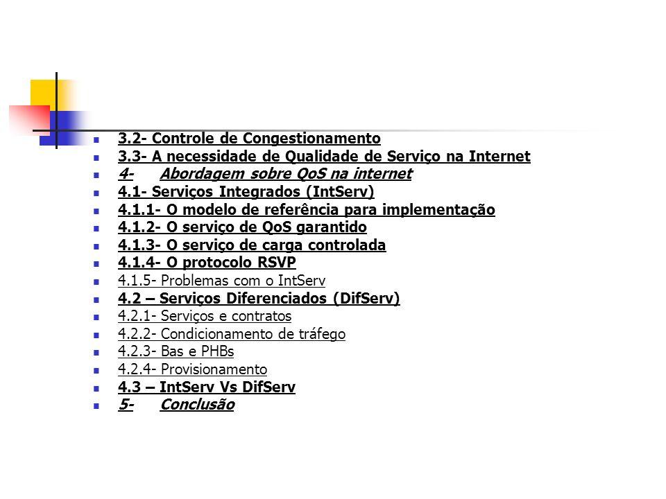 3.2- Controle de Congestionamento 3.3- A necessidade de Qualidade de Serviço na Internet 4-Abordagem sobre QoS na internet 4.1- Serviços Integrados (I