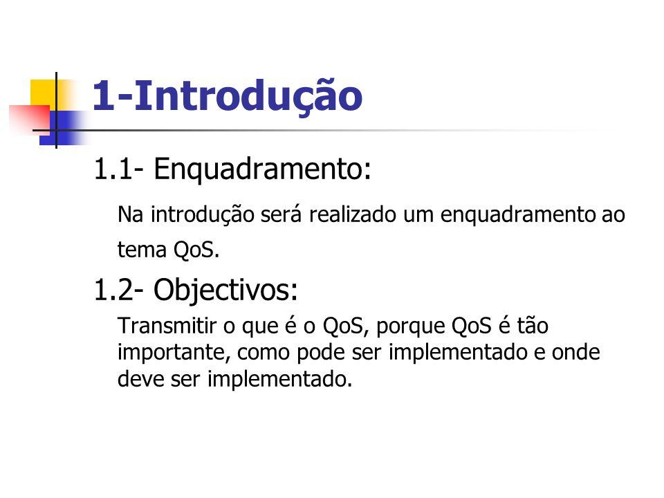 1-Introdução 1.1- Enquadramento: Na introdução será realizado um enquadramento ao tema QoS. 1.2- Objectivos: Transmitir o que é o QoS, porque QoS é tã