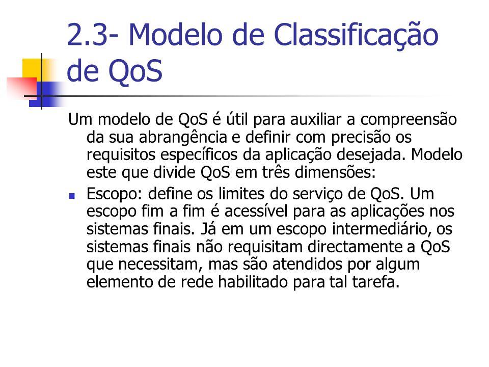 2.3- Modelo de Classificação de QoS Um modelo de QoS é útil para auxiliar a compreensão da sua abrangência e definir com precisão os requisitos especí