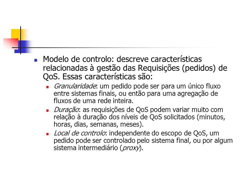 Modelo de controlo: descreve características relacionadas à gestão das Requisições (pedidos) de QoS. Essas características são: Granularidade: um pedi
