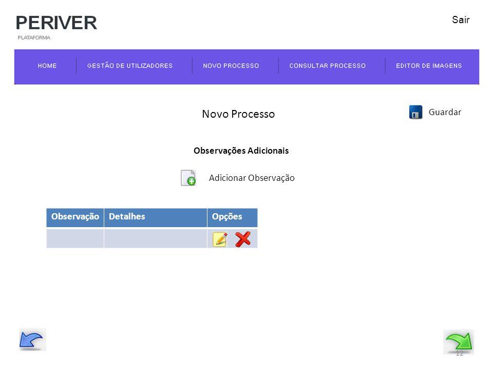 Novo Processo Guardar Observações Adicionais Adicionar Observação 12 Sair ObservaçãoDetalhesOpções