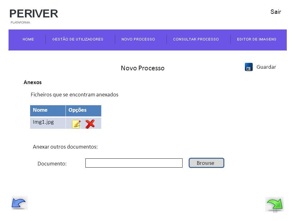 Novo Processo Guardar Anexos Documento: Browse NomeOpções Img1.jpg Ficheiros que se encontram anexados Anexar outros documentos: 18 Sair