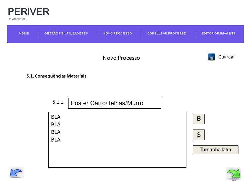 Novo Processo Guardar 5.1. Consequências Materiais BLA B S Tamanho letra 5.1.1.