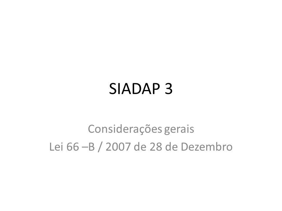 SIADAP 3 Considerações gerais Lei 66 –B / 2007 de 28 de Dezembro