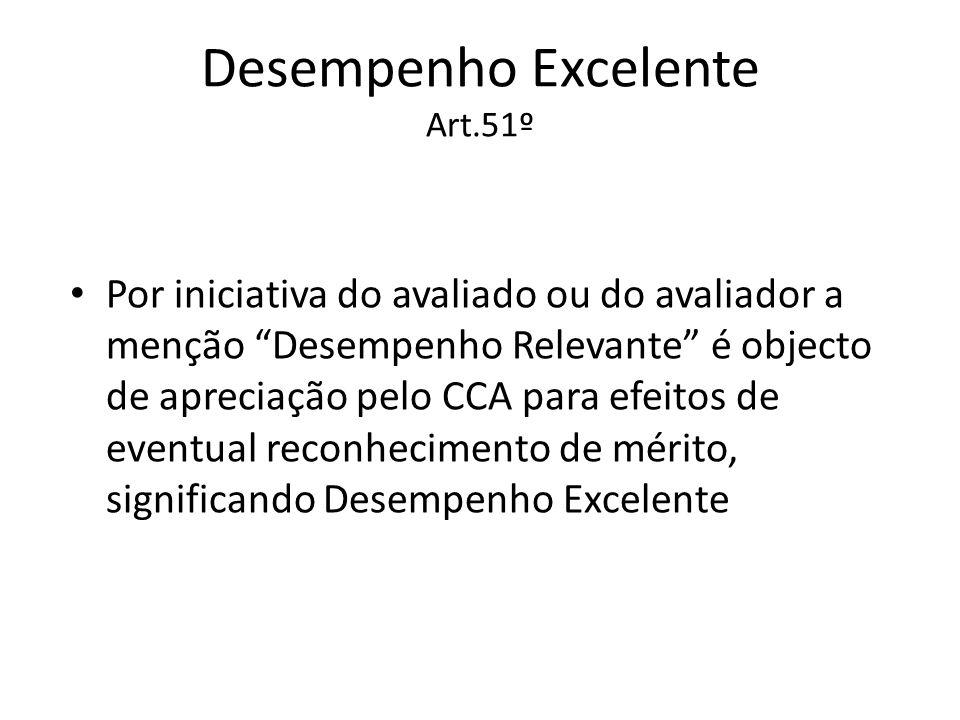 Desempenho Excelente Art.51º Por iniciativa do avaliado ou do avaliador a menção Desempenho Relevante é objecto de apreciação pelo CCA para efeitos de