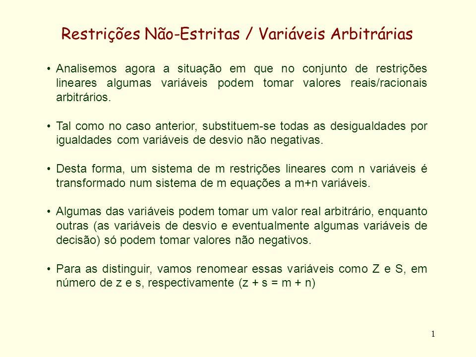 2 Restrições Não-Estritas / Variáveis Arbitrárias Se o número de variáveis reais não fôr inferior ao número de restrições (z m), e sendo assumido que os coeficientes das variáveis das restrições são linearmente independentes (como será sempre assumido), o sistema é sempre possível.