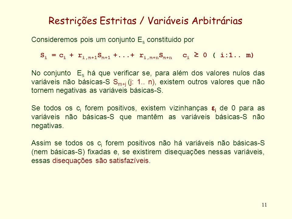 12 Restrições Estritas / Variáveis Arbitrárias Se alguns c i forem nulos, não há garantia de haver essas vizinhanças.