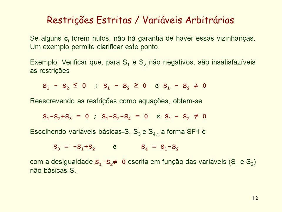 13 Restrições Estritas / Variáveis Arbitrárias Aparentemente o sistema é satisfazível, pois foi possível escrever as equações na forma SF1 e colocar a disequação em termos das variáveis não básicas-S.