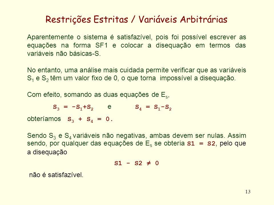14 Restrições Estritas / Variáveis Arbitrárias S1-S2+S3 = 0 ; S1-S2-S4 = 0 Escolhendo outra combinação de variáveis básicas-S (S 1, S 3 e S 4 ) poderíamos ter reescrito a forma SF1 como S 1 = S 2 ;S 3 = 0 e S 4 = 0 Eliminando a variável básica S 1, da disequação S 1 - S 2 0...