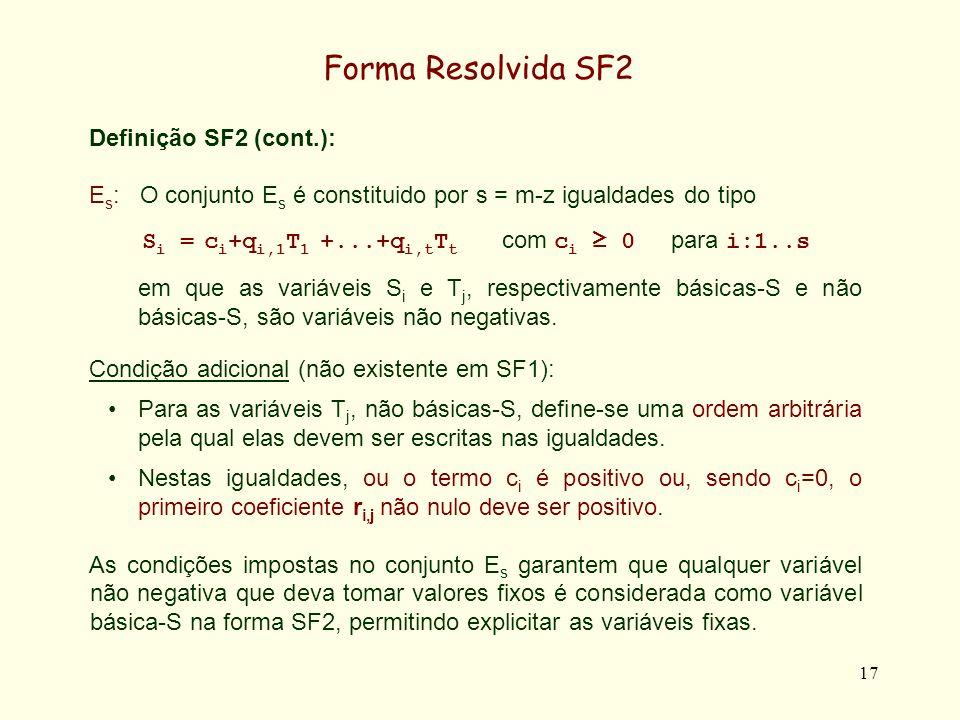 18 Forma Resolvida SF2 Teorema: A forma resolvida SF2 detecta as variáveis fixas, como variáveis básicas-S.