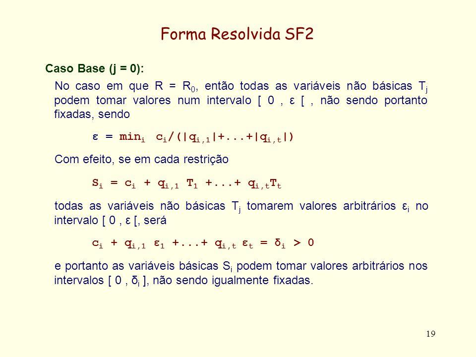20 Forma Resolvida SF2 Caso de Indução (k ~> k + 1): Assumindo que nenhum sistema R 0...