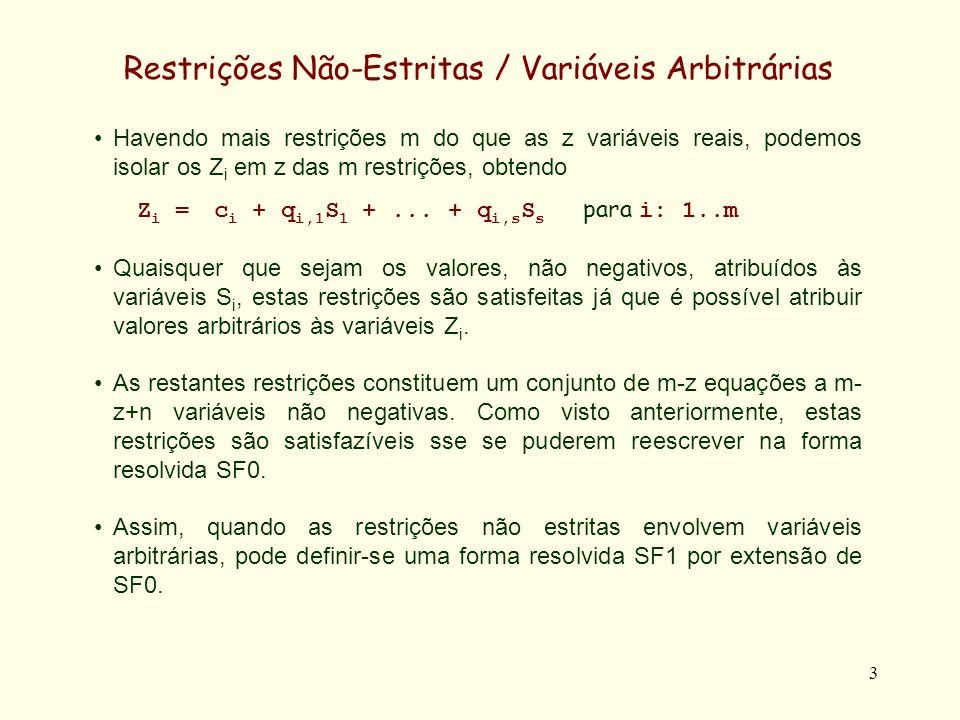 4 Forma Resolvida SF1 (Igualdades) Definição: Um sistema de restrições de igualdade está na forma resolvida SF1 se as suas restrições se dividirem em dois conjuntos E a e E s definidos como: Se z m, E s é vazio e E a constituído por m equações Z i = d i + p i,m+1 Z m+1 +...+ p i,z Z z + q i,1 S 1 +...