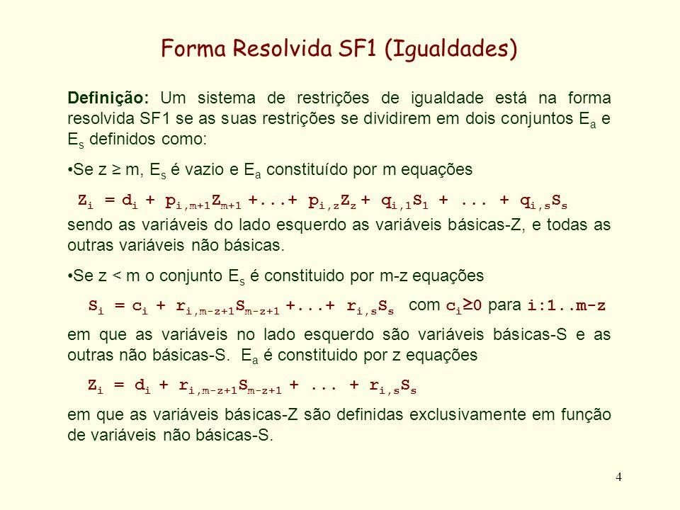 5 Forma Resolvida SF1 (Igualdades) Exemplo: X2 X3 = 0 X5 = 0 X4 = 0 Eliminando-se o requisito de não negatividade de X1 e X2 as restrições admitem como forma resolvida SF1 X1 = 5 - X3 - X4 X2 = -2 + X3 + 2 X4 X5 = 12 - 2 X3 - 3 X4 Ea:Ea: Es:Es: 2 X1 + X2 8 X1 + X2 3 X1 - X2 -5 2 X1 + X2 + X3 = 8 X1 + X2 - X4 = 3 X1 - X2 - X5 = -5