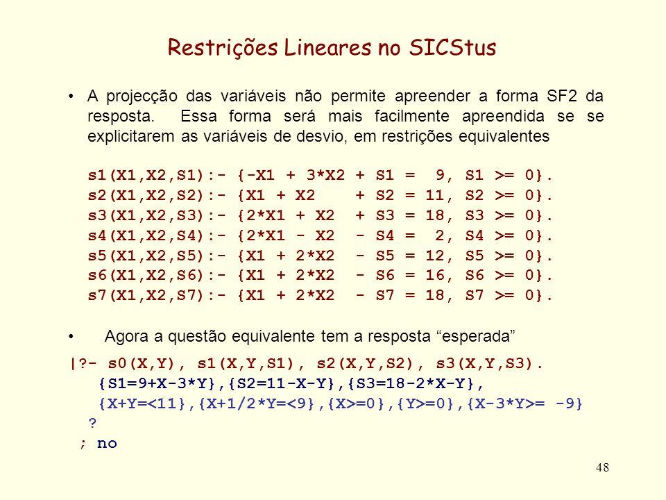 49 Restrições Lineares no SICStus Outras questões exemplificadas.