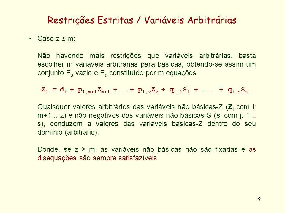 10 Restrições Estritas / Variáveis Arbitrárias Caso z < m: Neste caso todas as variáveis arbitrárias são básicas, originando um conjunto E a é constituido por z equações Z i = d i + r i,m-z+1 S m-z+1 +...+ r i,s S s Uma vez obtido E a, continuam a existir m-z equações nas variáveis não-negativas.