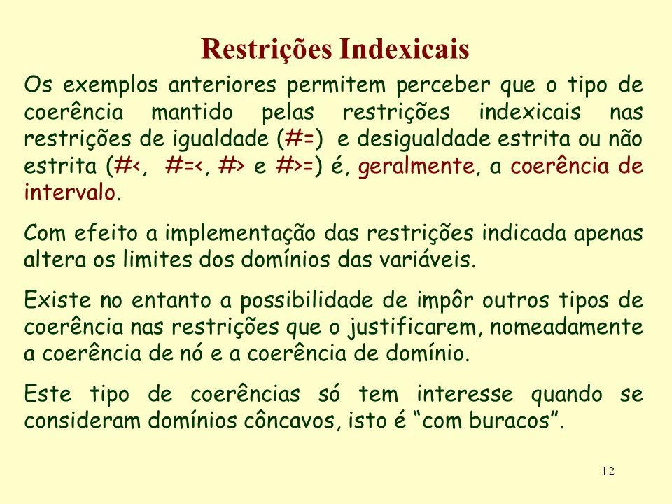 12 Restrições Indexicais Os exemplos anteriores permitem perceber que o tipo de coerência mantido pelas restrições indexicais nas restrições de iguald