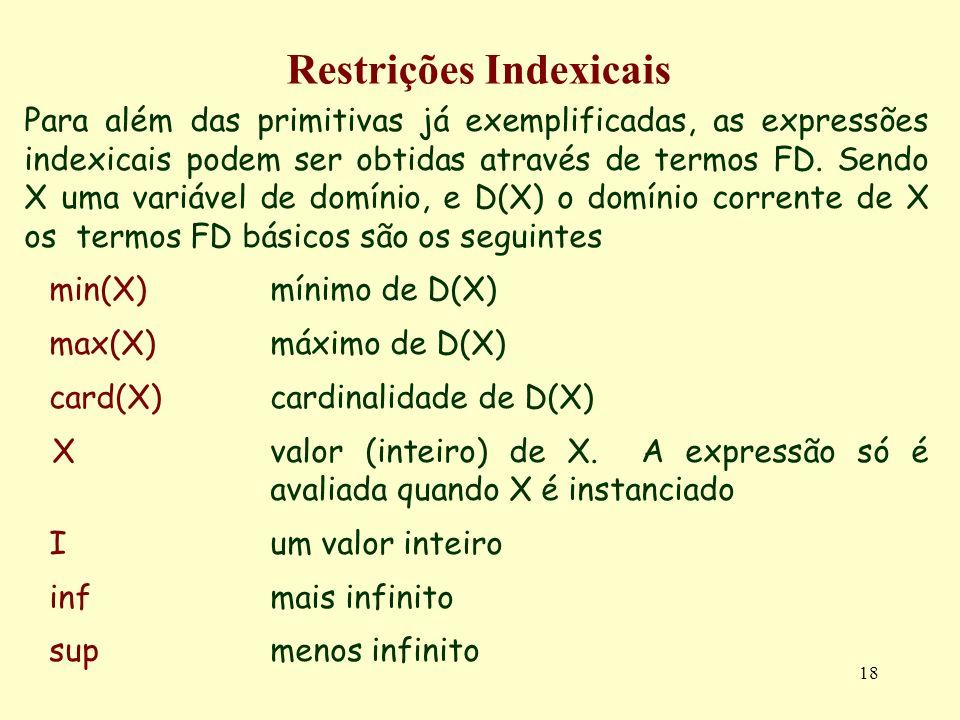 18 Restrições Indexicais Para além das primitivas já exemplificadas, as expressões indexicais podem ser obtidas através de termos FD. Sendo X uma vari
