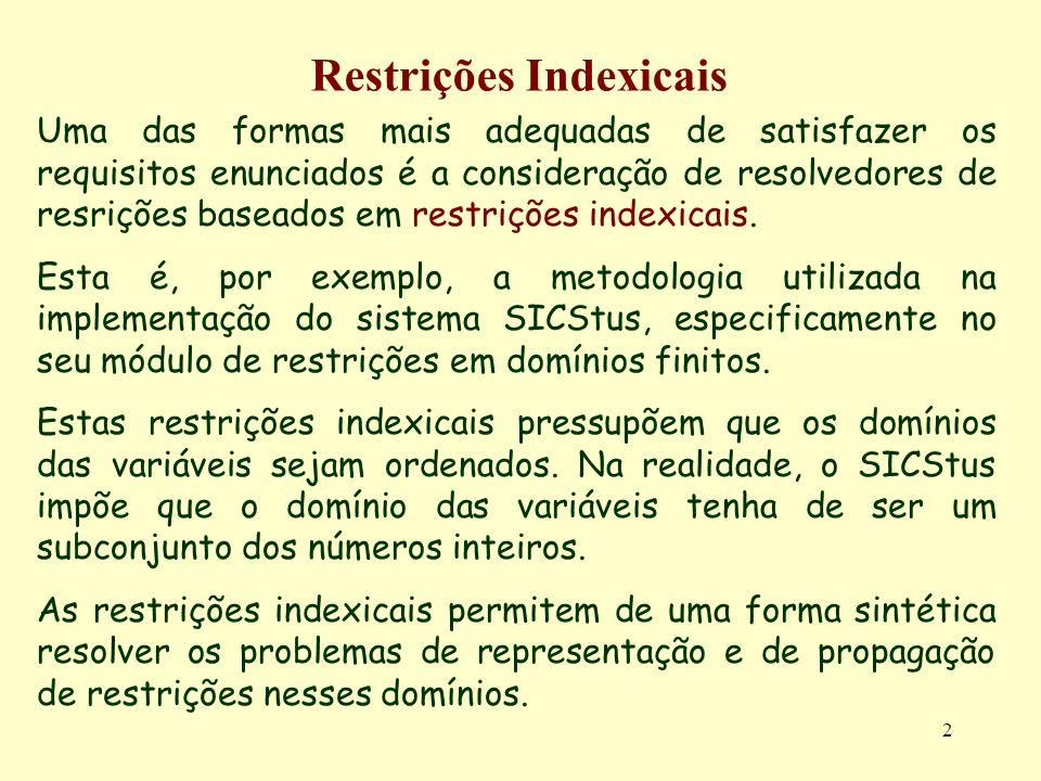 2 Restrições Indexicais Uma das formas mais adequadas de satisfazer os requisitos enunciados é a consideração de resolvedores de resrições baseados em