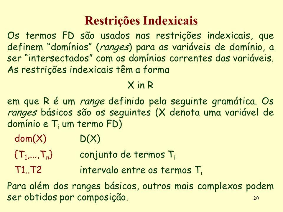 20 Restrições Indexicais Os termos FD são usados nas restrições indexicais, que definem domínios (ranges) para as variáveis de domínio, a ser intersec