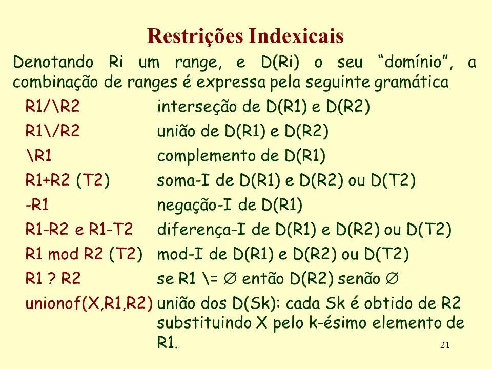 21 Restrições Indexicais Denotando Ri um range, e D(Ri) o seu domínio, a combinação de ranges é expressa pela seguinte gramática R1/\R2 interseção de