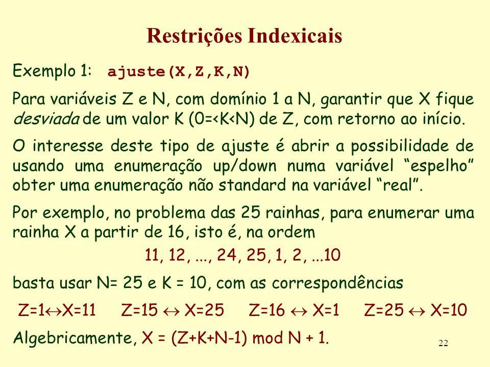 22 Restrições Indexicais Exemplo 1: ajuste(X,Z,K,N) Para variáveis Z e N, com domínio 1 a N, garantir que X fique desviada de um valor K (0=<K<N) de Z