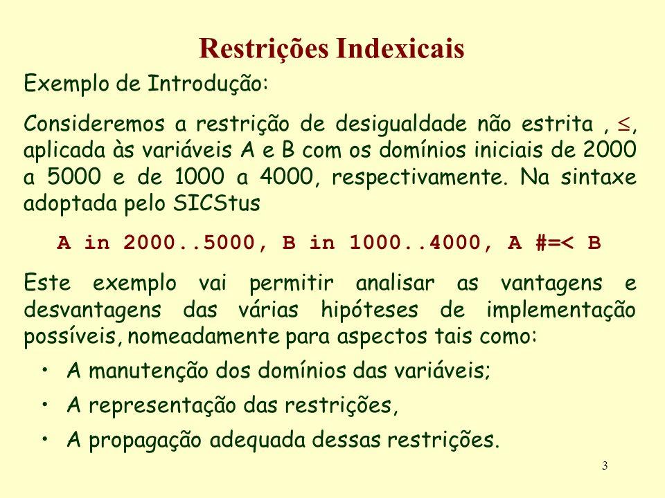 3 Restrições Indexicais Exemplo de Introdução: Consideremos a restrição de desigualdade não estrita,, aplicada às variáveis A e B com os domínios inic