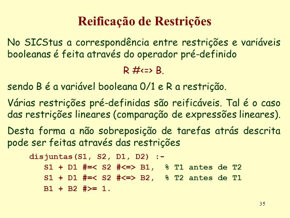 35 Reificação de Restrições No SICStus a correspondência entre restrições e variáveis booleanas é feita através do operador pré-definido R # B. sendo