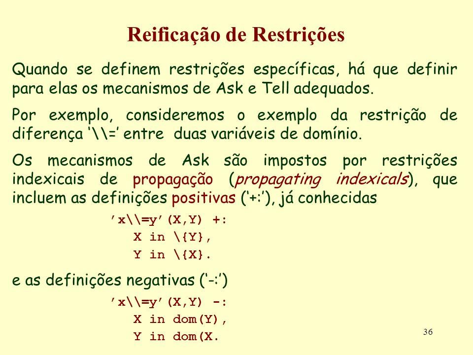 36 Reificação de Restrições Quando se definem restrições específicas, há que definir para elas os mecanismos de Ask e Tell adequados. Por exemplo, con
