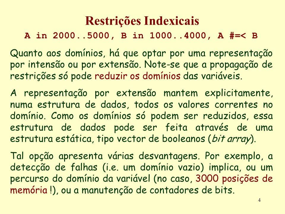 4 Restrições Indexicais A in 2000..5000, B in 1000..4000, A #=< B Quanto aos domínios, há que optar por uma representação por intensão ou por extensão