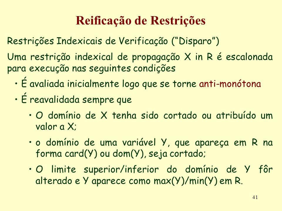 41 Reificação de Restrições Restrições Indexicais de Verificação (Disparo) Uma restrição indexical de propagação X in R é escalonada para execução nas