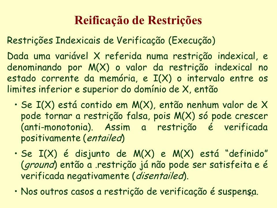 42 Reificação de Restrições Restrições Indexicais de Verificação (Execução) Dada uma variável X referida numa restrição indexical, e denominando por M