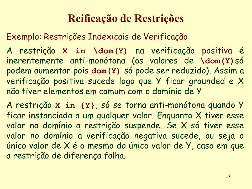 43 Reificação de Restrições Exemplo: Restrições Indexicais de Verificação A restrição X in \dom(Y) na verificação positiva é inerentemente anti-monóto