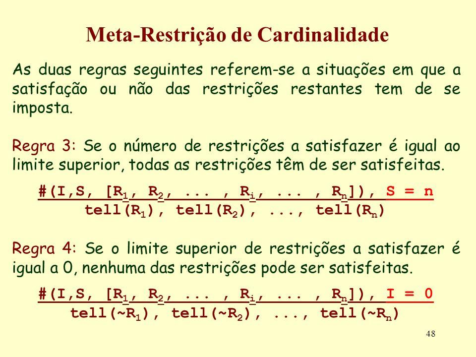 48 Meta-Restrição de Cardinalidade As duas regras seguintes referem-se a situações em que a satisfação ou não das restrições restantes tem de se impos
